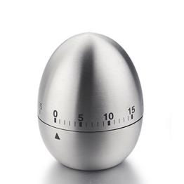 iStwahl Mechanische Eieruhr - Eiförmige Edelstahl Kurzzeitmesser mit Stoppuhr (Ø x H) 61 mm x 77 mm Küchenhelfer Kurzzeitwecker -
