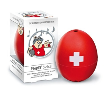 PiepEi Swiss, in Panoramabox, rot mit Druck (Nationalhymne / Alpenclap / Triumphmarsch) -