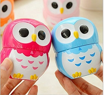 Da.Wa Cooking Timer Cartoon Owl Shape Kitchen Timers Mechanical Cook Cooking Timer (Rose,Set of 1) - 4