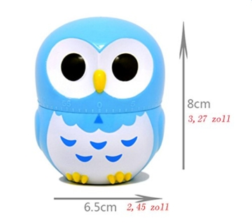 Da.Wa Cooking Timer Cartoon Owl Shape Kitchen Timers Mechanical Cook Cooking Timer (Rose,Set of 1) - 7