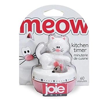 Eieruhr Kurzzeitwecker Küchentimer Küchenwecker, mechanisch, Katze mit Maus, 60 Minuten, Kunststoff, ca. 6 x 7.5 cm, weiß - 2