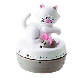 Eieruhr Kurzzeitwecker Küchentimer Küchenwecker, mechanisch, Katze mit Maus, 60 Minuten, Kunststoff, ca. 6 x 7.5 cm, weiß - 1