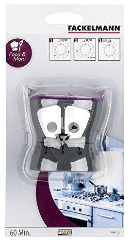 FACKELMANN Fackemann Kurzzeitwecker Eule, Mechanische Küchenuhr, lustige Eieruhr (Farbe: Grau/Lila), Menge: 1 Stück - 2