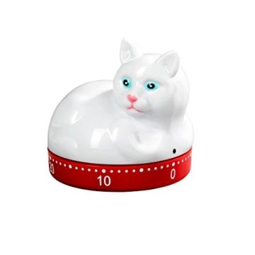 """Kurzzeitmesser""""Katze"""", Eieruhr in Katzenform Küchenuhr Zeitmesser Küchentimer rot-weiß max. 60 Minuten -"""