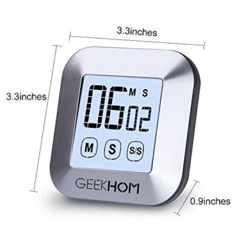 Magnetischer Küchentimer, GEEKHOM Digitaler Touchscreen-Timer mit Alarm, Countdown & Hochzähler, großer LCD Bildschirmtimer für die Küche und zum Kochen - 2