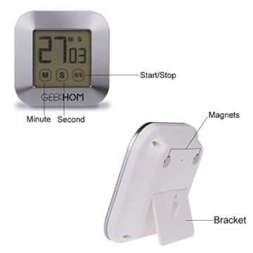 Magnetischer Küchentimer, GEEKHOM Digitaler Touchscreen-Timer mit Alarm, Countdown & Hochzähler, großer LCD Bildschirmtimer für die Küche und zum Kochen - 3